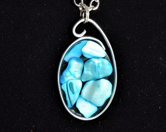 Custom Made Turquoise Blue Shell Necklace, Resin Necklace, Sea Shell Necklace