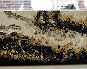 Abstract Painting,12 x 36, Wall art, Original, one of a kind, Black, Gold, White
