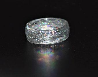 Glitter RingResin Ringone of a kind jewelrySparkle RingBlue glitter resin ringgift for her
