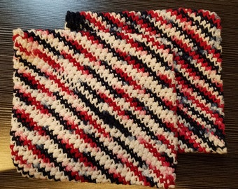 Double Thick Crochet Hot Pads - Red, White, & Blue