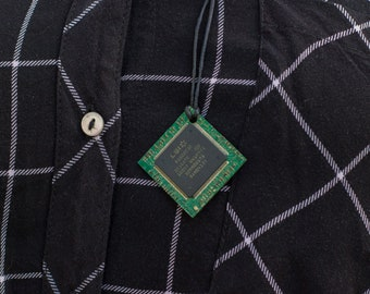 Cyberpunk circuit board necklace {2}, green circuit board, cyberpunk pendant, geek,