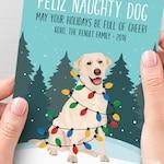 Yellow Lab Christmas Card, Funny Christmas Cards with Custom Dog Portrait, Custom Pet Portrait Card, Labrador Retriever Lover Xmas Card