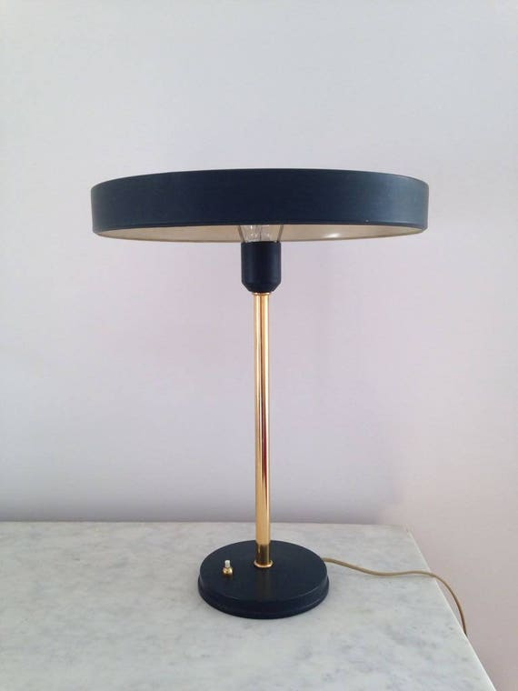 Louis Kalff Lamp.Timor 69 Table Lamp In Dark Green Brass By Louis Kalff For Philips