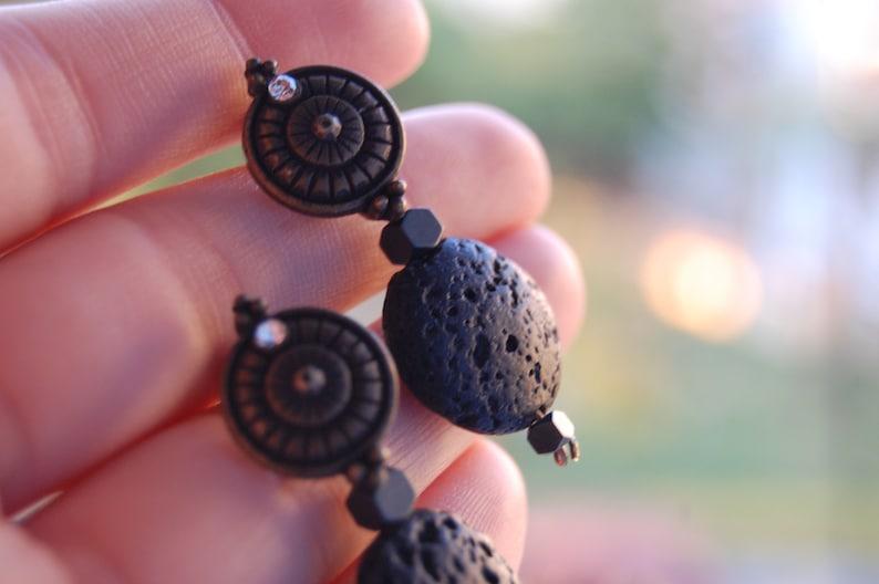 Hippy Bronze Dangle Carved Black Lava Gemstones Handmade Vintage Earrings -Ethnic Minimal Style - Bohemian Earrings Chic Gypsy