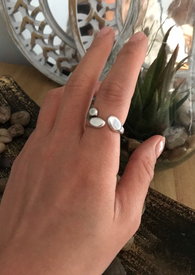 Antique silver ring Vintage Unique Boho Ring Greek style accessories chic stackable-ring minimal Stainless Steel Ring Adjustable Size