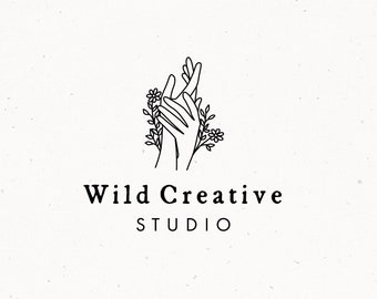 Premade Botanical Logo Design, Floral Branding, Logo Design Package Kit, Hands Clipart, Photography Florist Brand Identity, Business Logo