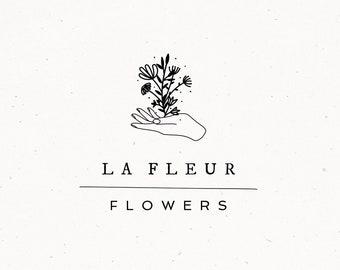 Floral Hand Logo design Flower Shop Watermark Bohemian Marketing Photography Etsy Shop Elegant Modern Flower Botanical Branding Vintage