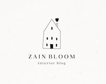 Interior Pre made Logo Design Cute Home Brand for Blog Business Small Business House Logo Design Rustic Premade Design Home Love