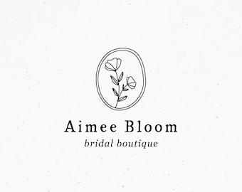 Bridal Boutique Logo, Premade Logo Design, Floral Wedding Watermark Logo, Feminine Logo, Minimal Modern Logo Design, Flower Logo
