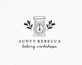 Baking Premade Logo Design, Bakery Shop Brand, Food Baking Branding, Scales Pastry Cakes Cupcakes Clipart, Patisserie Restaurant Hand drawn