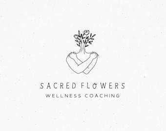 Female Floral Logo Design, Wellness Coaching Logo, Flower Photography Watermark, Folk Logo, Florist Logo, Bohemian Marketing Etsy Shop