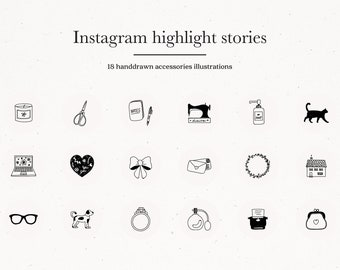 Instagram Story Highlight Icons Yoga Covers Hand drawn Social | Etsy
