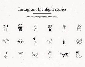 Story Highlights Covers Icons for Instagram Social Media Garden Illustrations Branding Template Graphic Gardening Tool Buttons Minimal