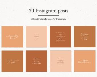 Instagram Template Posts, Terracotta Motivational Quote Posts, Brown Nude Instagram Posts, Premade Instagram Templates Quotes Beige Peach