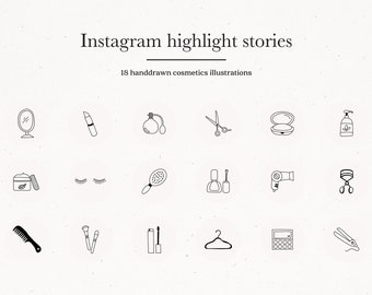Instagram Beauty Cosmetics Story Highlights Icons Covers, Black on Gray Instagram Icons Hand Drawn Template Graphic Highlights