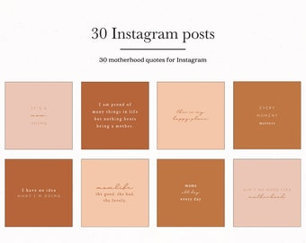 Motherhood Quotes for Instagram Posts, Mom Mother Posts for Insta Template Bundle, Terracotta Mama IG Presets Type Mum Quotes Social Media