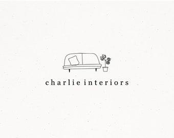 Interiors Premade Logo, Interior Designer Branding, Home Decor Brand, Couch Pillow Plant Illustration, Bloggers Watermark for Blog