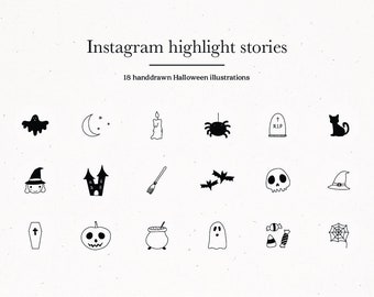 Halloween Black & Gray Instagram Story Highlight Icons Covers Fall for Social Media Kit Templates Spider Ghost Autumn Trick or Treat