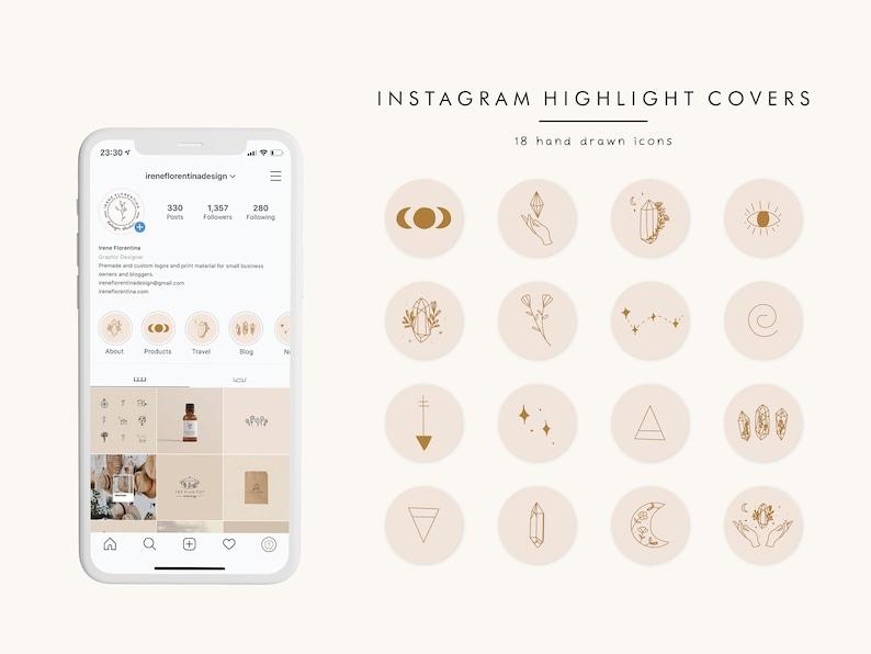 Highlight Cover Icons Line Illustration Boho Instagram Story image 0