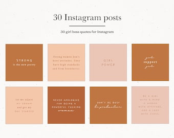 Girl Boss Quotes, Instagram Post Pack Marketing Kit,  30 Set Templates Bundle for Instagram, Insta Post Quotes Black White