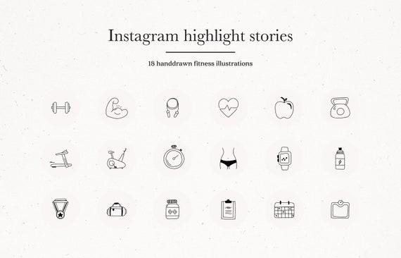 Health Fitness Instagram Story Highlights Instagram Gym Etsy