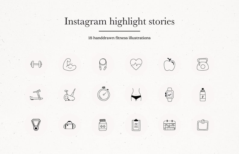 Health & Fitness Instagram Story Highlights, Instagram Gym Sports Icons in  Black on Gray, Workout Insta Story Templates Instant Download