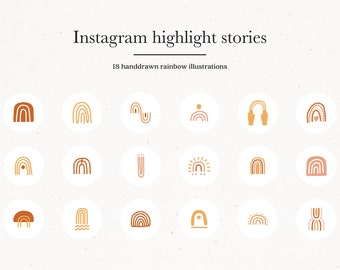 Rainbow Instagram Story Highlight Icons, Earthy Insta Template Covers, Hand Drawn Modern Icons, Moon Sun Star Rainbow Eye Illustrations