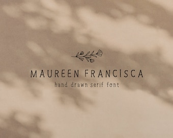 Hand Drawn Serif Font, Maureen Francisca Font, Serif Condensed Style Typeface, Skinny Font for Logo Design and Branding , Instant Download
