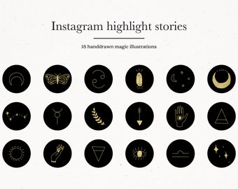Magical Instagram Story Covers, Black Gold Magic Instagram Highlight Cover Icons, IG Black Gold Hand Drawn Illustrations for Covers