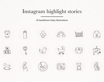 Baby Instagram Story Highlight Icon Covers, Pregnancy Icons IG Cover Stories, Pregnant Insta Social Media Kit Templates Lifestyle Cute