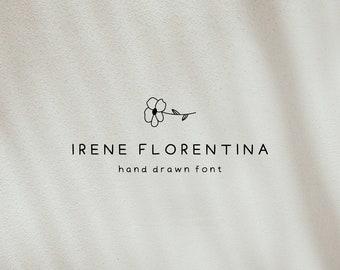 Hand Drawn Font, Irene Florentina Font, Sans Serif Doodle Style Typeface,  Bohemian Font for Logo Design and Branding , Instant Download
