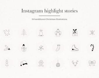 Christmas Instagram Story Highlight Icons Covers Black & Gray for Social Media Kit Templates Winter Christmas Holiday Season Illustrations