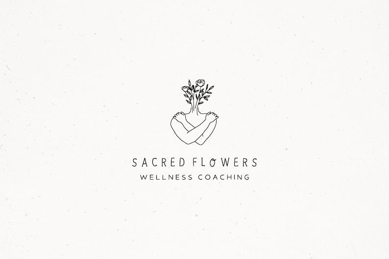 Female Floral Logo Design Wellness Coaching Logo Flower image 0