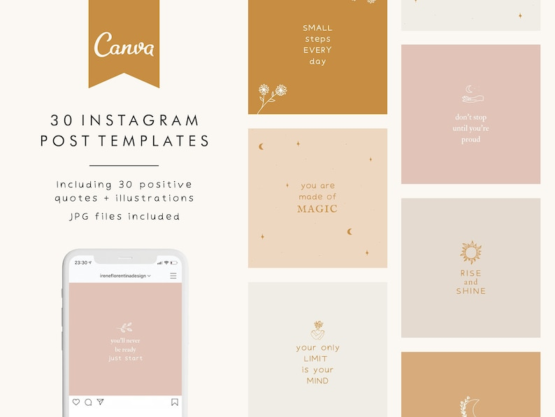30 Instagram Post Templates for Canva Social Media Templates image 0