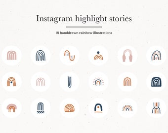18 Instagram Story Highlight Icons, Rainbow Instagram Story Highlight Icons, Navy Insta Template Covers, Hand Drawn Modern Icons