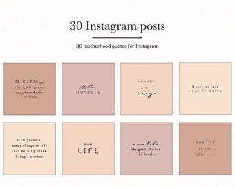 Motherhood Instagram Post Templates, Pink Mom Mother Posts for Insta Template Bundle, Feminine Mama IG Presets Type Mum Quotes Social Media