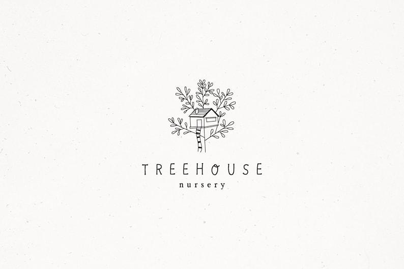 Treehouse Illustration Treehouse Premade Logo Botanical Logo image 0