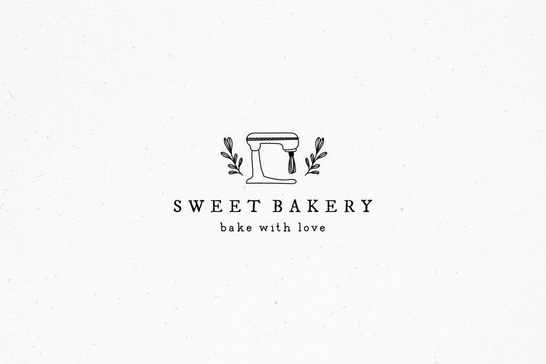 Bakery Premade Logo Design Mixer Baking Brand Artisan Boho image 0