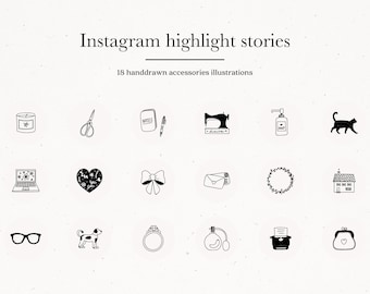 Instagram Story Highlight Icons Organic Accessories Hand Drawn Sketch, Instagram Story Covers of Social Media Icons Clipart General Download