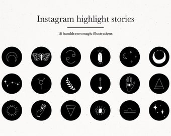 18 Magic Instagram Highlight Icons Black and White, Instagram Highlight Covers for IG Branding, Instant Download Icons for IG Magic