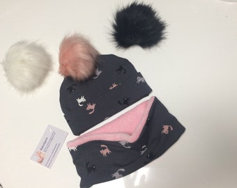 Bonnet snood pompon pour bebe - Couleur et composition au choix 58e24f5febe