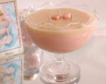 Large Vanilla Heart Soy Candle in a Vintage Dessert Jar
