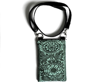 phone purse   zero waste vegan   mint green crossbody bag   eco friendly  handbag   organic cotton   recycled 7050c9cfc1ddb