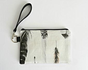 OUTLET   vegan clutch bag   white linen purse   zero waste handbag   eco  friendly wristlet   big zipper pouch 48ecef1053e2c