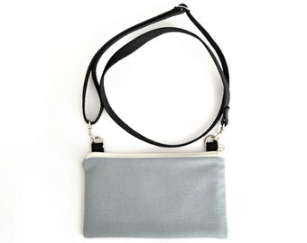 small crossbody purse   zero waste vegan   gray cell phone bag   minimalist  handbag   eco friendly   organic cotton f0a1e6c781aae