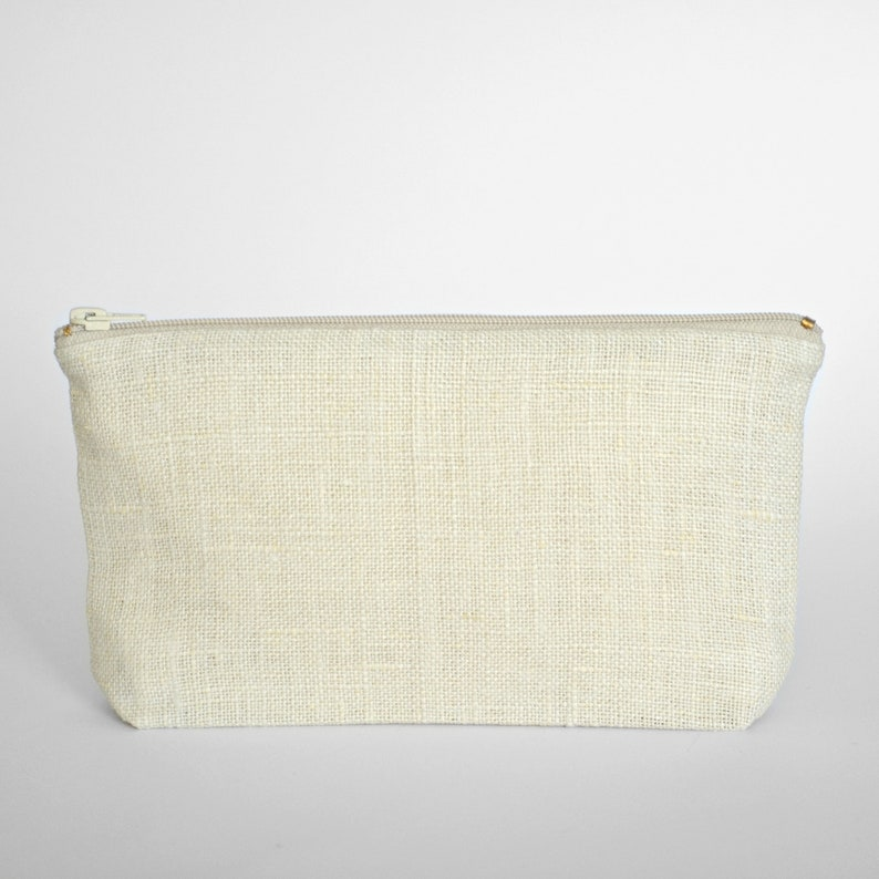 Linen zipper purse   zero waste vegan   white minimalist clutch  b84ebe16b0533