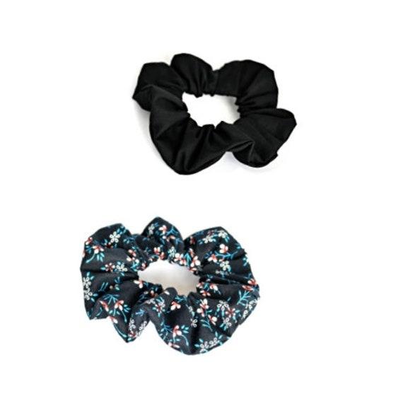 set of scrunchies   floral hair tie   black ponytail holder    c8896256523