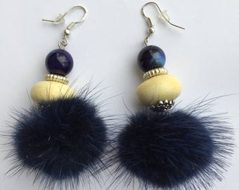 Blue beige ceramic earrings