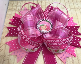 Handmade Boutique stacked hair bow pink strawberry shortcake 5""