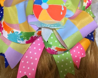 Handmade Boutique stacked hair bow summer beach ball adorable 5""